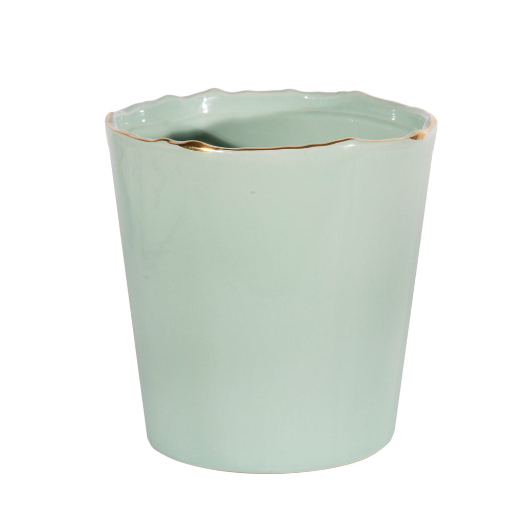 Pale Green Ceramic Vase with Gold Rim-Accessories-CF-Canfloyd-Putti Fine Furnishings