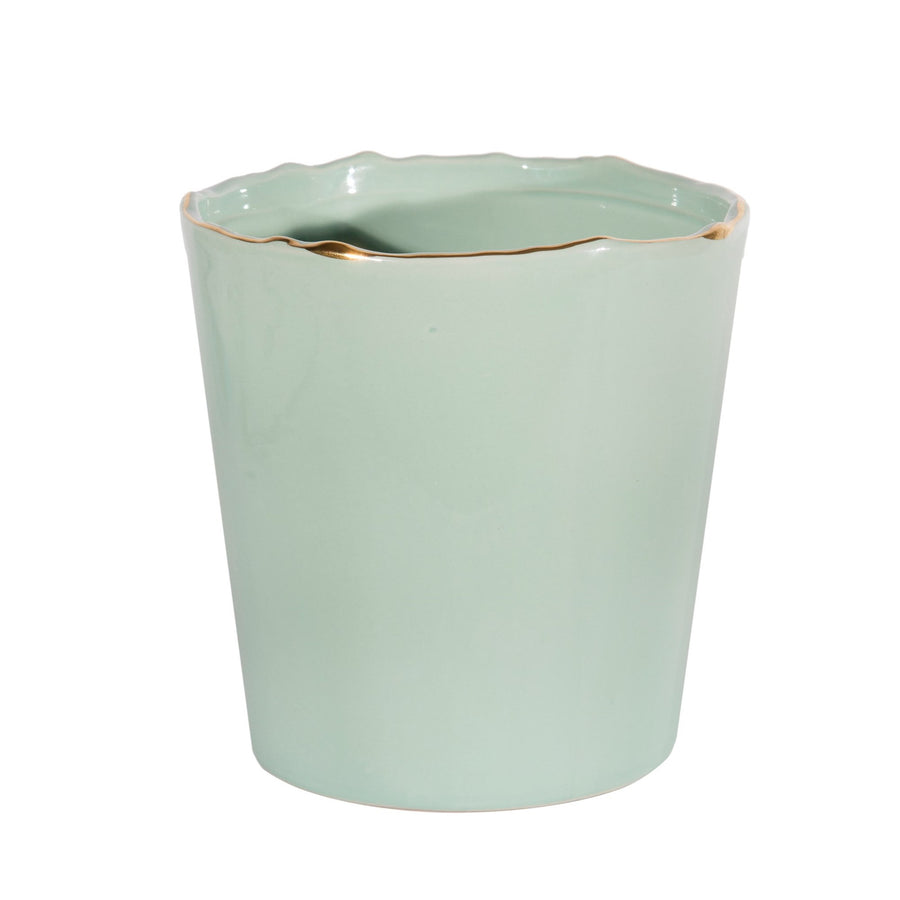Pale Green Ceramic Vase with Gold Rim, CF-Canfloyd, Putti Fine Furnishings