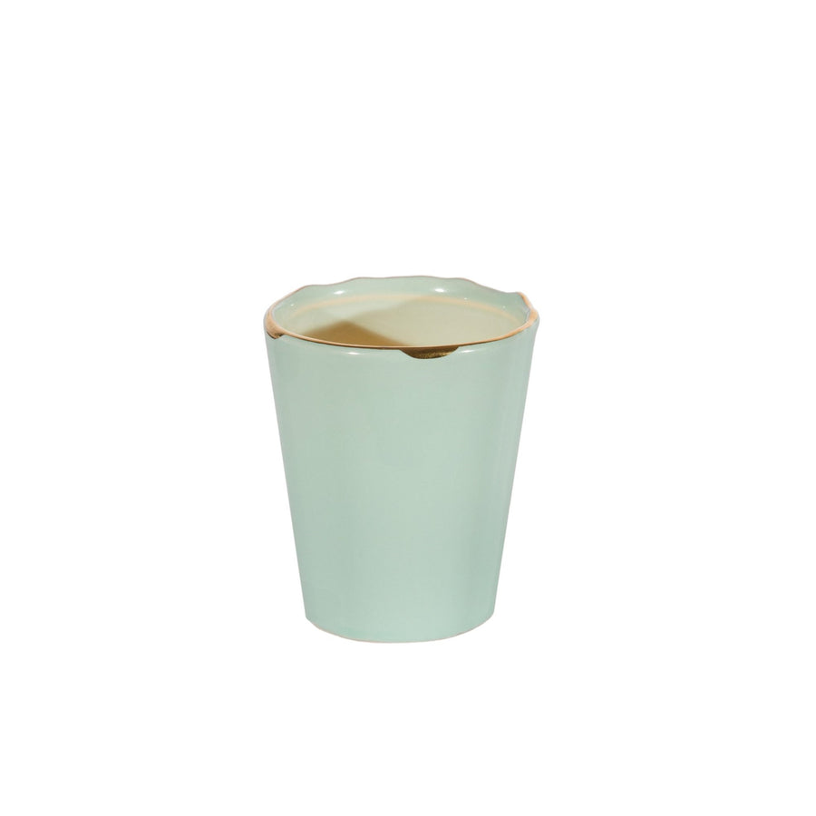 Pale Green Ceramic Votive Holder with Gold Rim