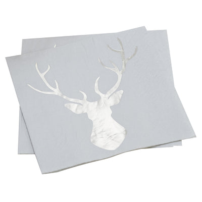 Foiled Stag Paper Lunch Napkins - Silver, GR-Ginger Ray UK, Putti Fine Furnishings