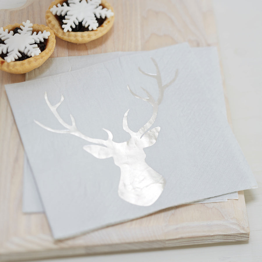 Foiled Stag Paper Lunch Napkins - Silver