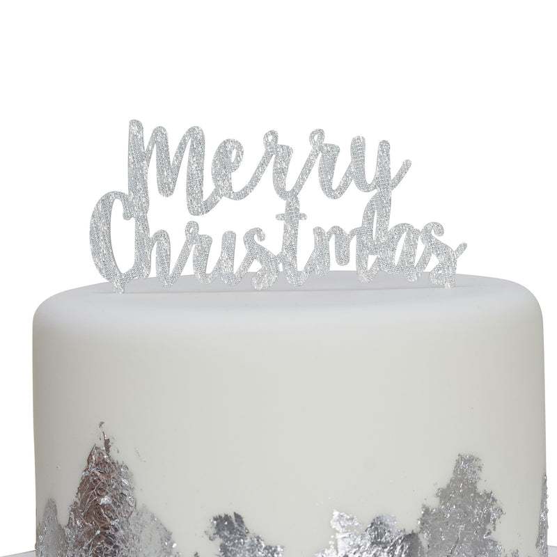 """Merry Christmas"" Cake Topper - Silver, GR-Ginger Ray UK, Putti Fine Furnishings"