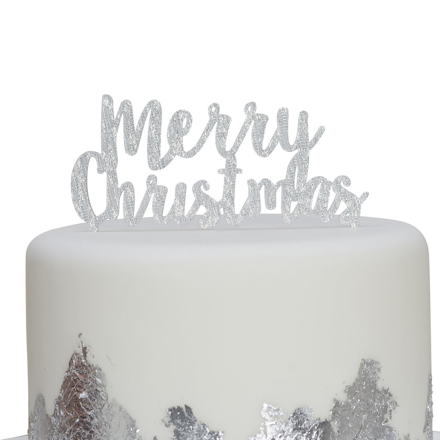 """Merry Christmas"" Cake Topper - Silver"