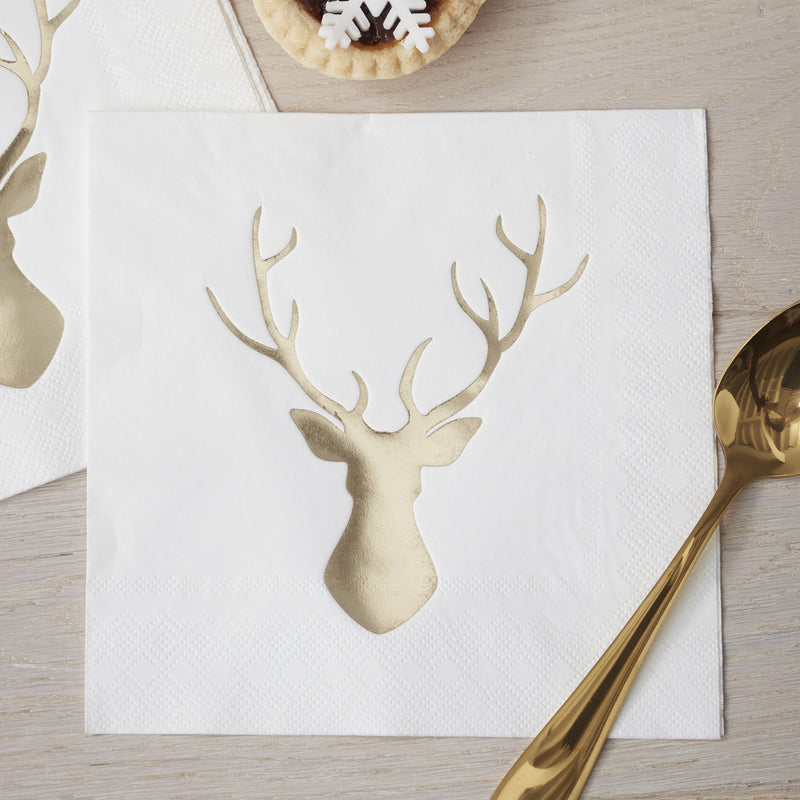 Foiled Stag Paper Lunch Napkins - Gold -  Party Supplies - Ginger Ray UK - Putti Fine Furnishings Toronto Canada - 1