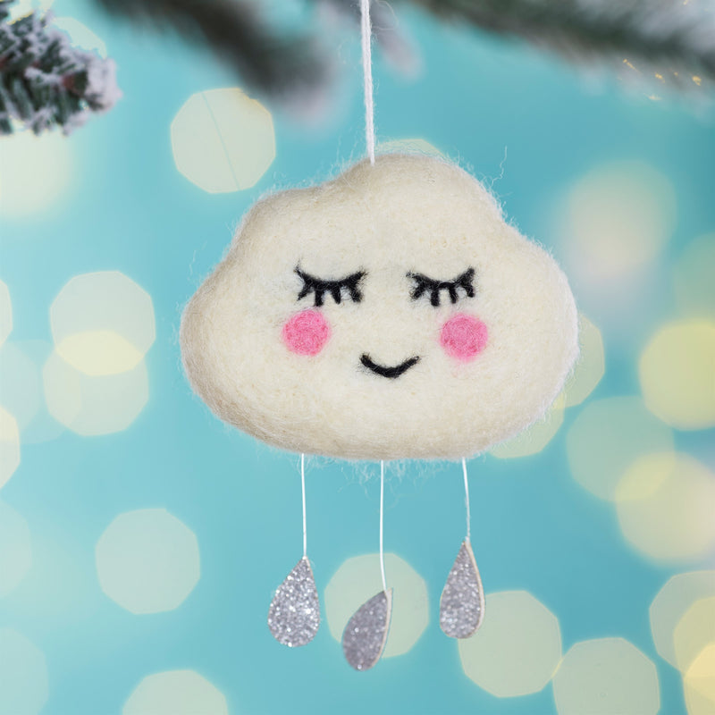 Sweet Dreams Raindrops Felt Hanging Cloud Ornament | Putti