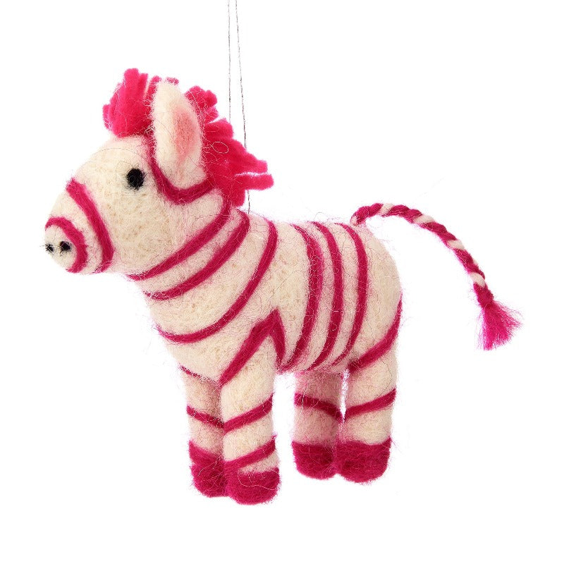 Pink Zebra Felted Ornament | Putti Christmas Canada
