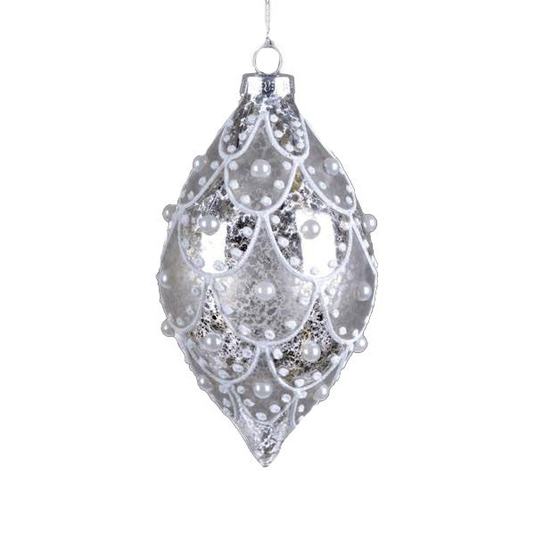 Silver Glass Drop Ornament with Glitter and Pearls