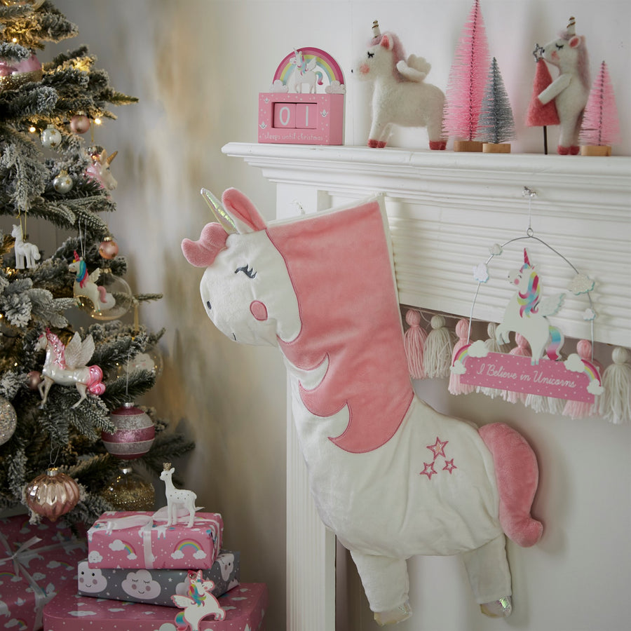 Velvet Unicorn Christmas Stocking