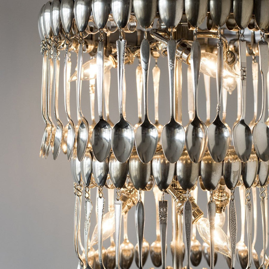 Triple Tier Vintage Spoon Chandelier