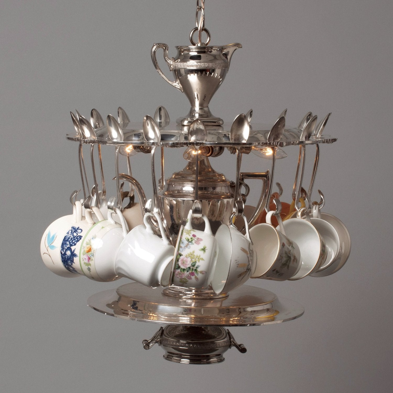 Hester & Cook Tea Party Silver Light with Vintage Tea Cups - Putti Canada