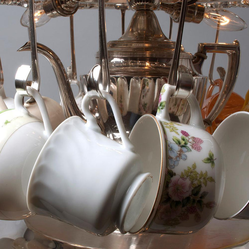 Tea Party Silver Light with Vintage Tea Cups