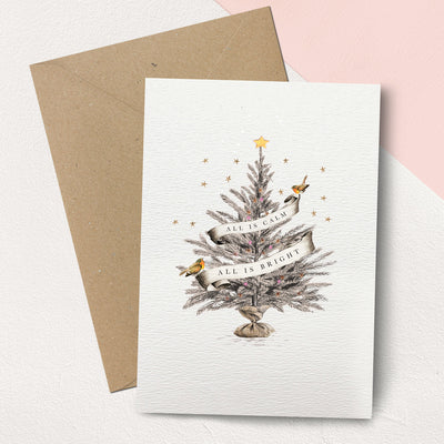 """Calm & Bright"" Christmas Tree Christmas Card Pack"