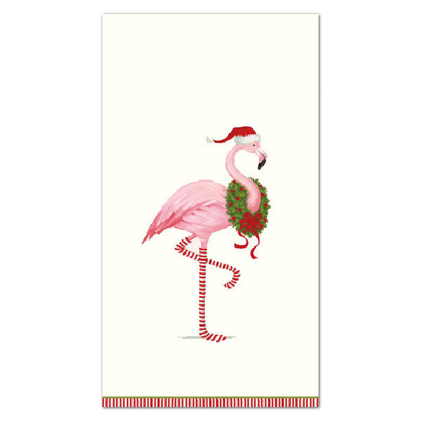 """Christmas Flamingo"" Paper Napkin - Guest, CI-Caspari, Putti Fine Furnishings"