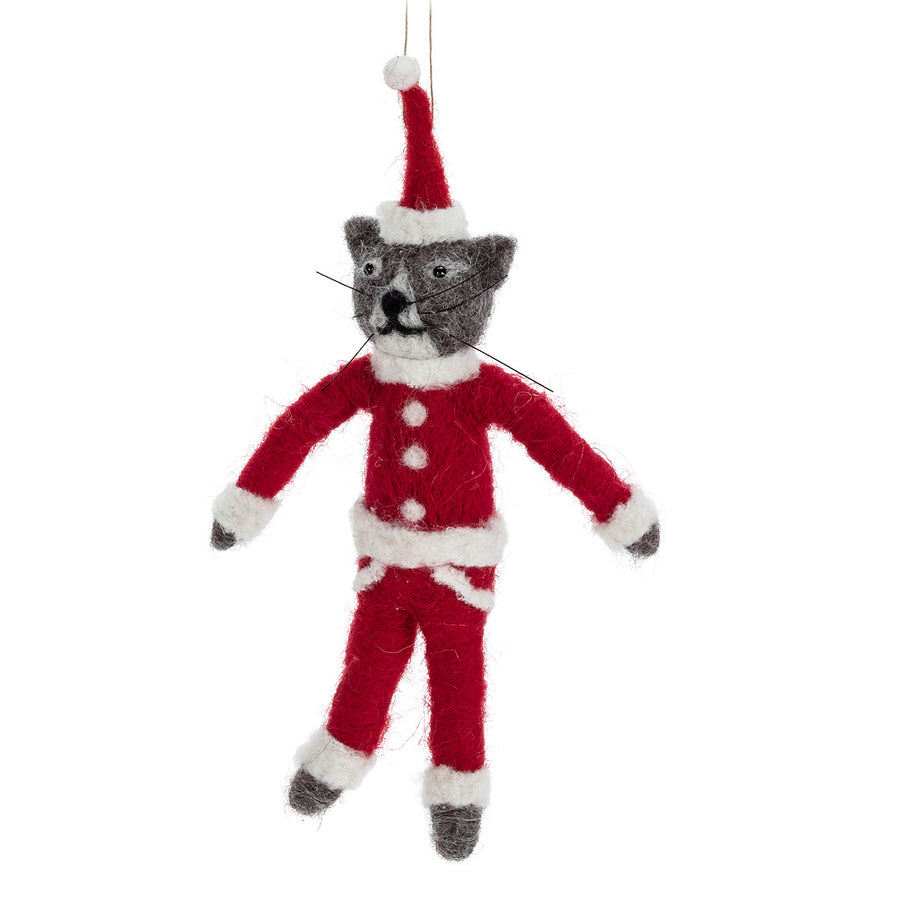 Santa Cat Felted Ornament