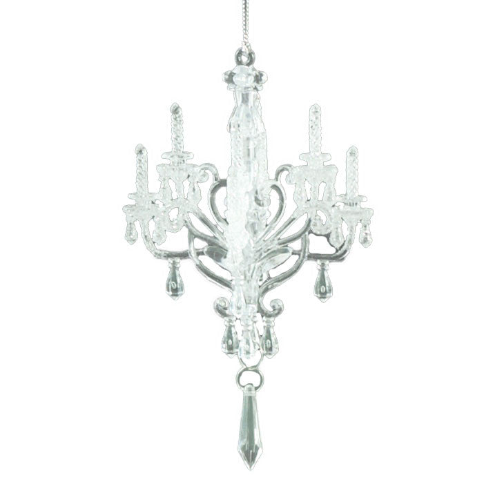 White Glitter Chandelier Ornament