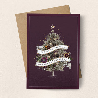 "Stephanie Davies ""Wonderful Husband"" Christmas Tree Christmas Card 