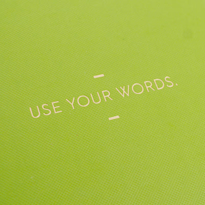 "Compendium ""Use Your Words"" Lime Green Motto Journal - Putti Fine Furnishings"
