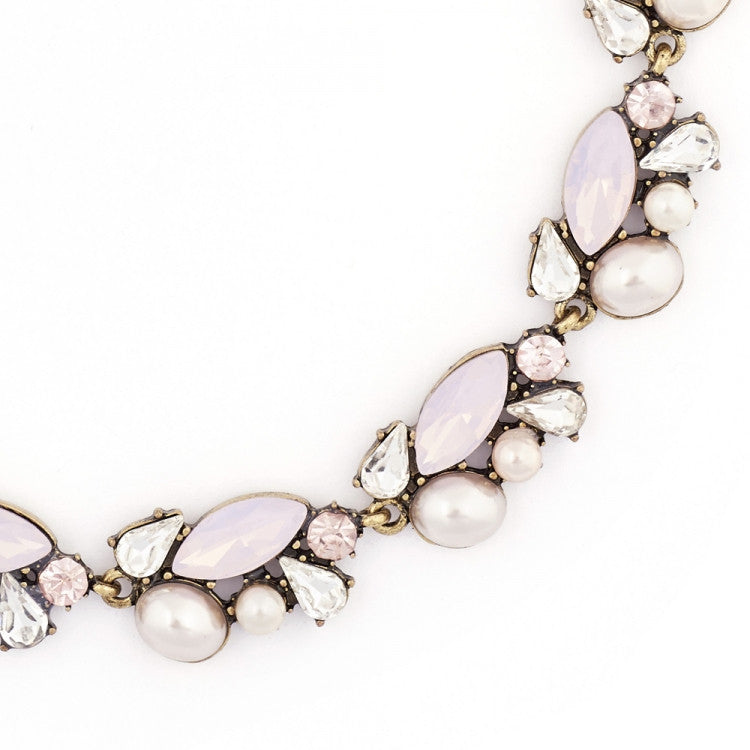 Lovett & Co. Crystal Cluster Necklace - Rosewater Opal