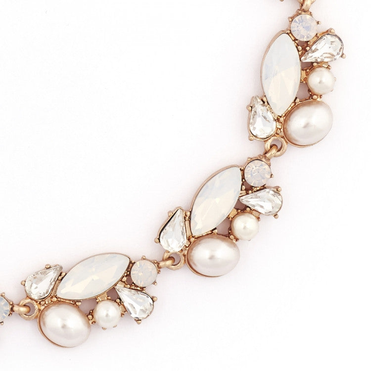 Lovett & Co. Crystal Cluster Necklace - White Opal