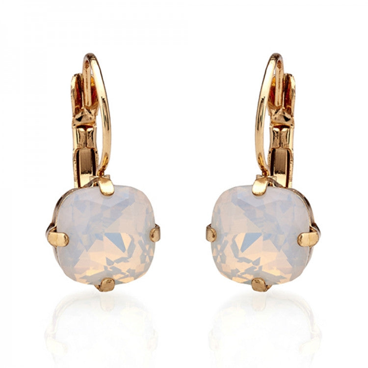 Lovett & Co. Cushion Cut Stone Earrings White Opal