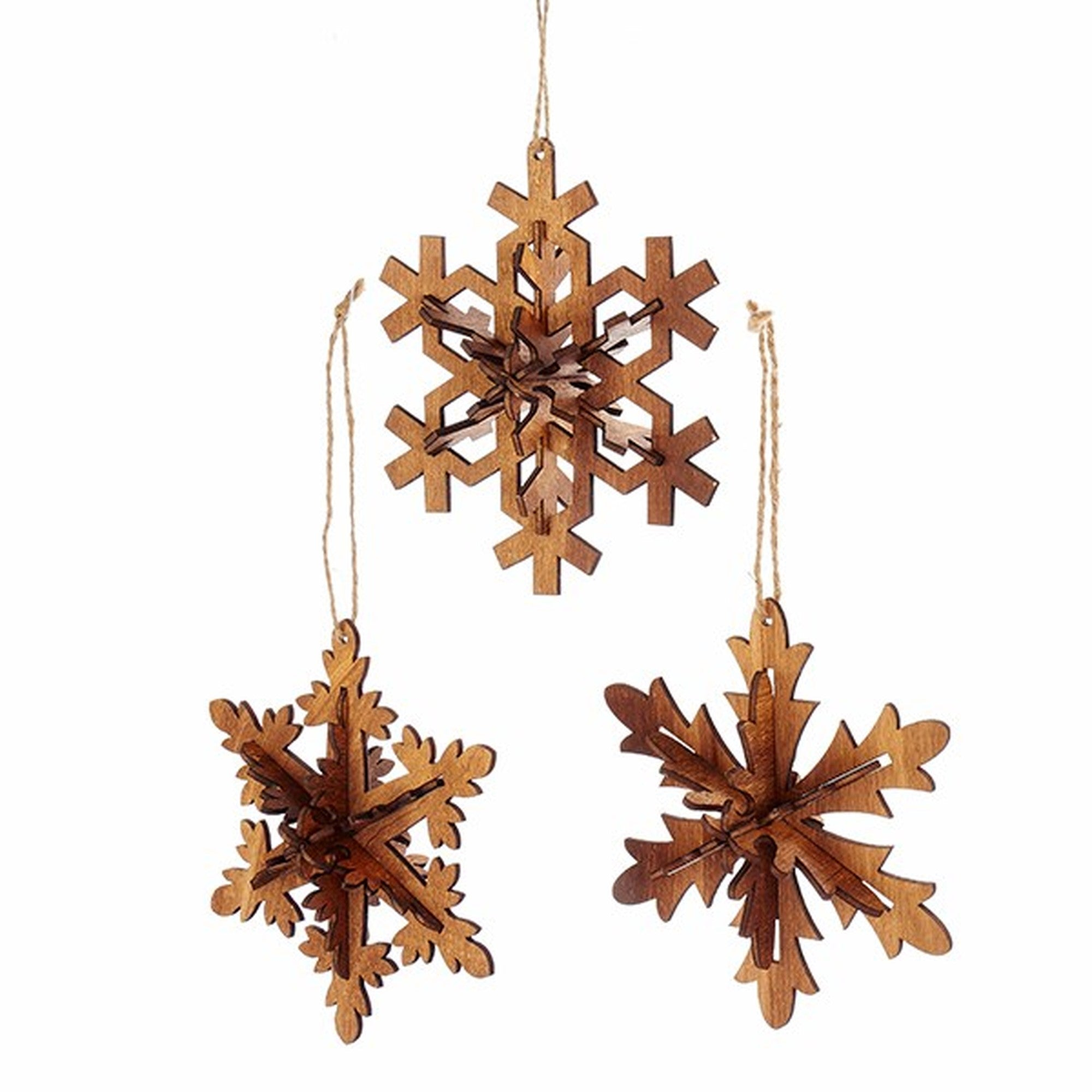 Kurt Adler Wooden Snowflake Ornaments  | Putti Christmas