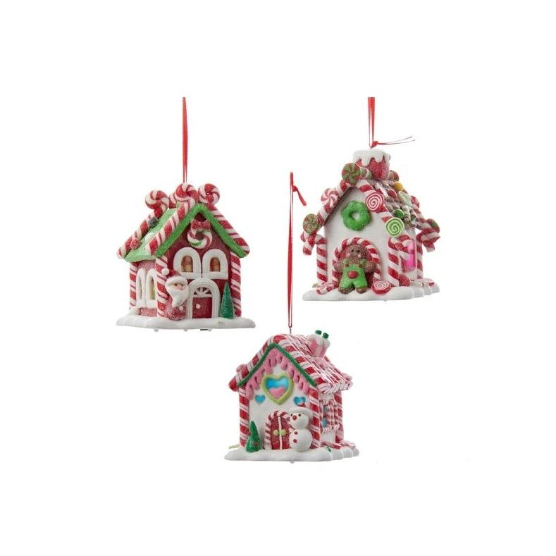 Kurt Adler Gingerbread LED Candy House Ornaments | Putti Christmas