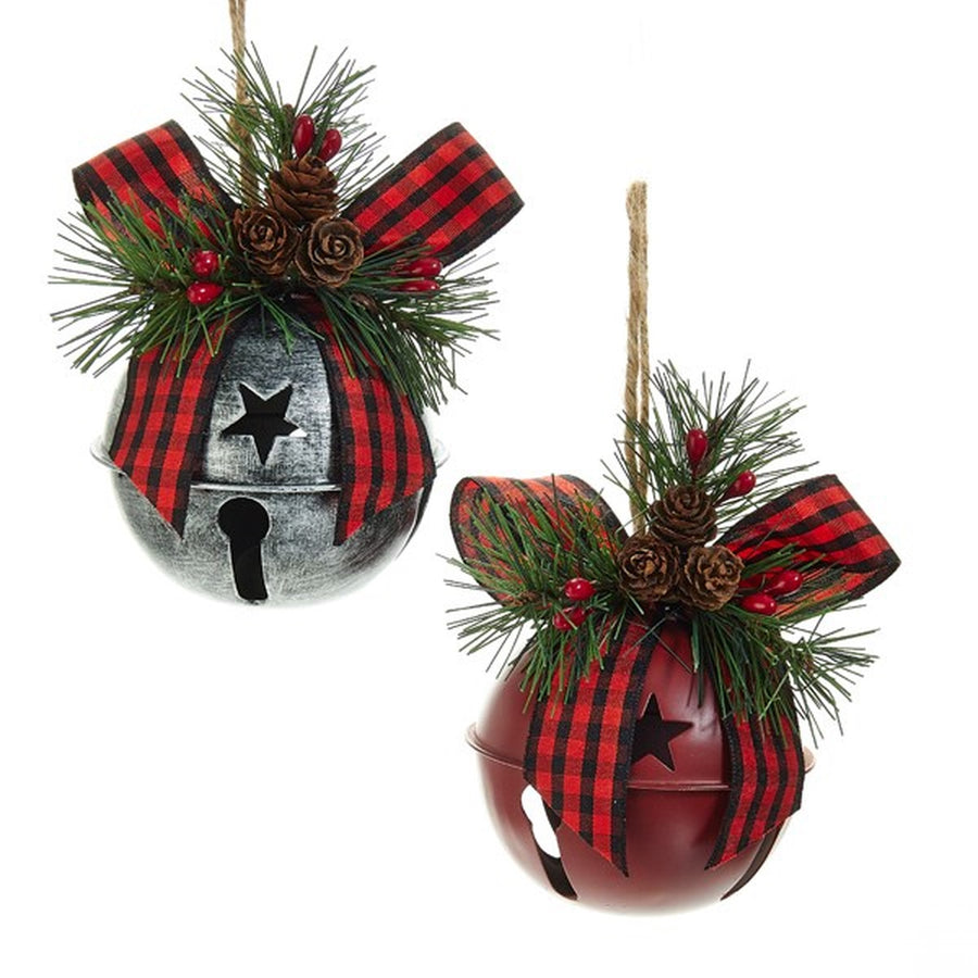 Kurt Adler Red and Silver Bell Ornaments | Putti Christmas