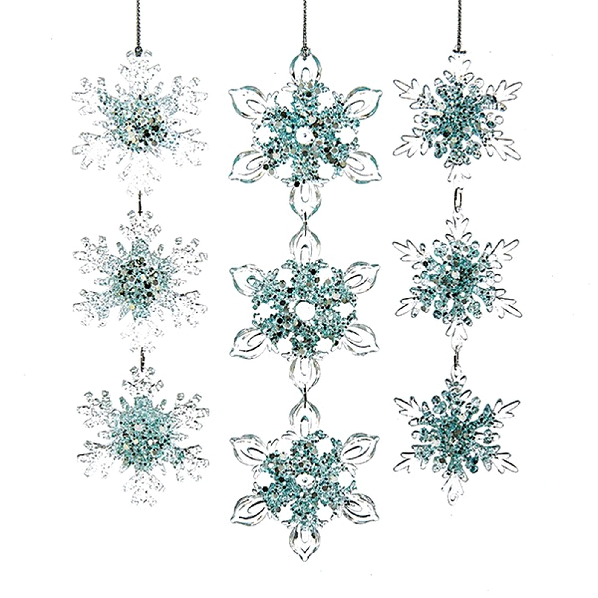 Kurt Adler Acrylic Ice Blue Snowflake Ornaments | Putti Christmas Canada