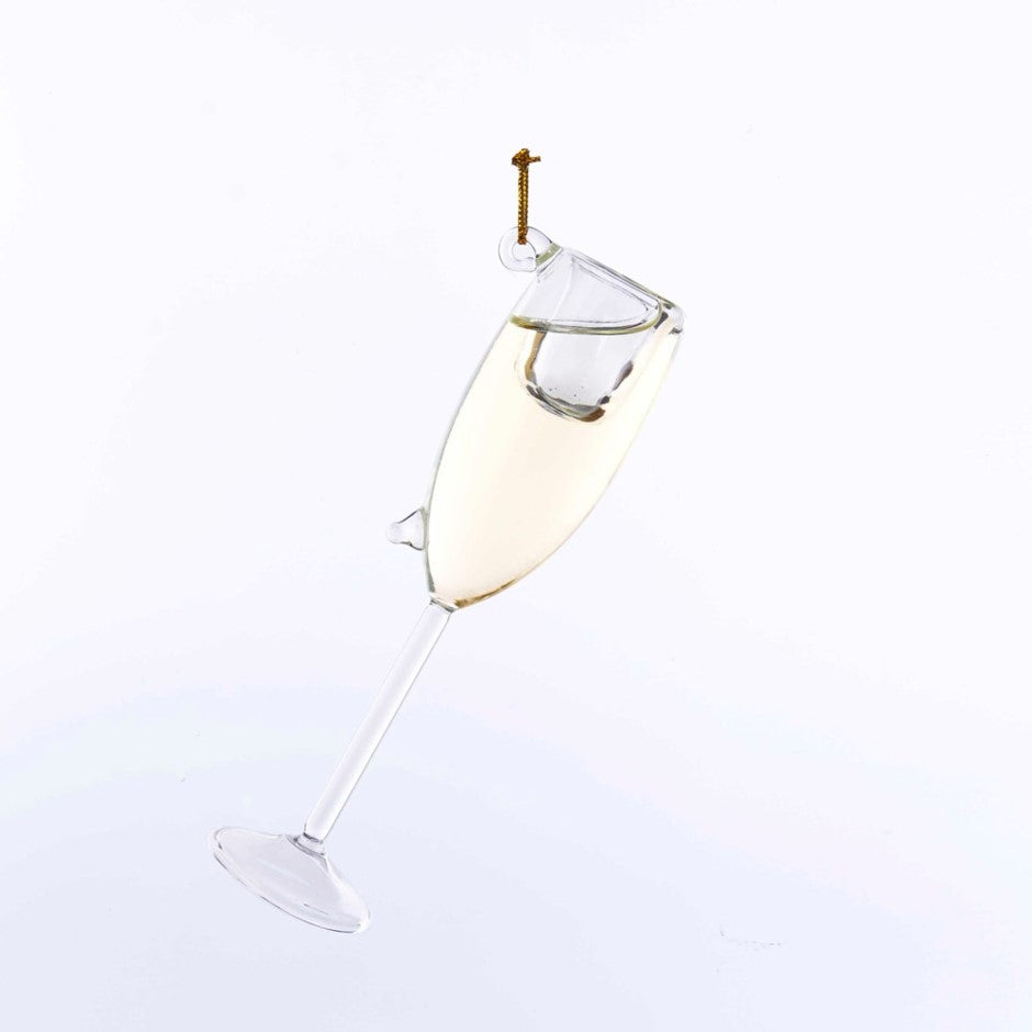 Kurt Adler Blown Glass Champagne Flute | Putti Christmas Decorations
