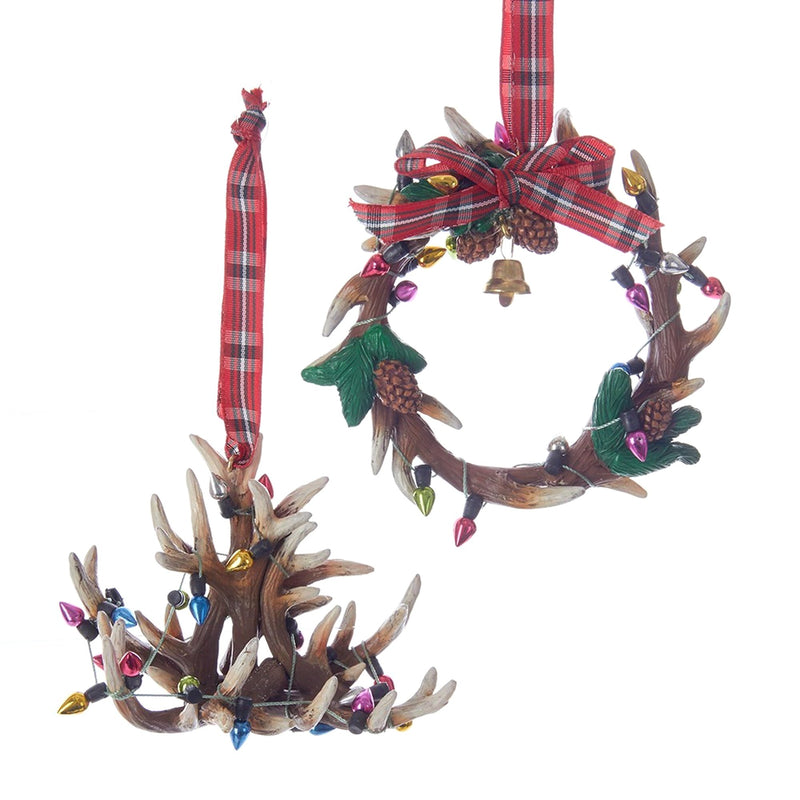 Kurt Adler Antler Chandelier and Wreath Ornaments