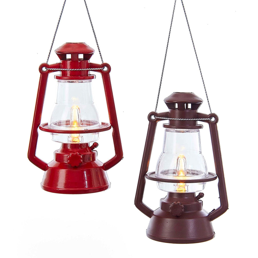 Kurt Adler Red and Brown Lantern Ornaments with LED