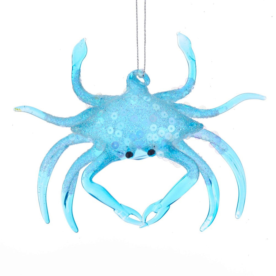 Kurt Adler Blue Glass Crab Ornament