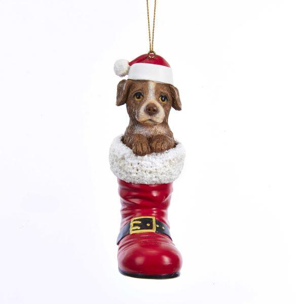 Resin Pitbull Dog in Santa Boot Ornament | Putti Christmas Decorations