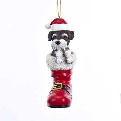 Resin Schnauzer Dog in Santa Boot Ornament | Putti Christmas Decorations