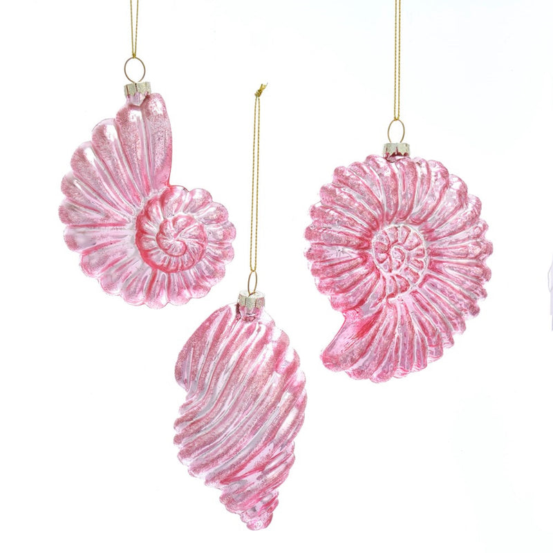 Kurt Adler Pink Glass Conch Shell Ornaments