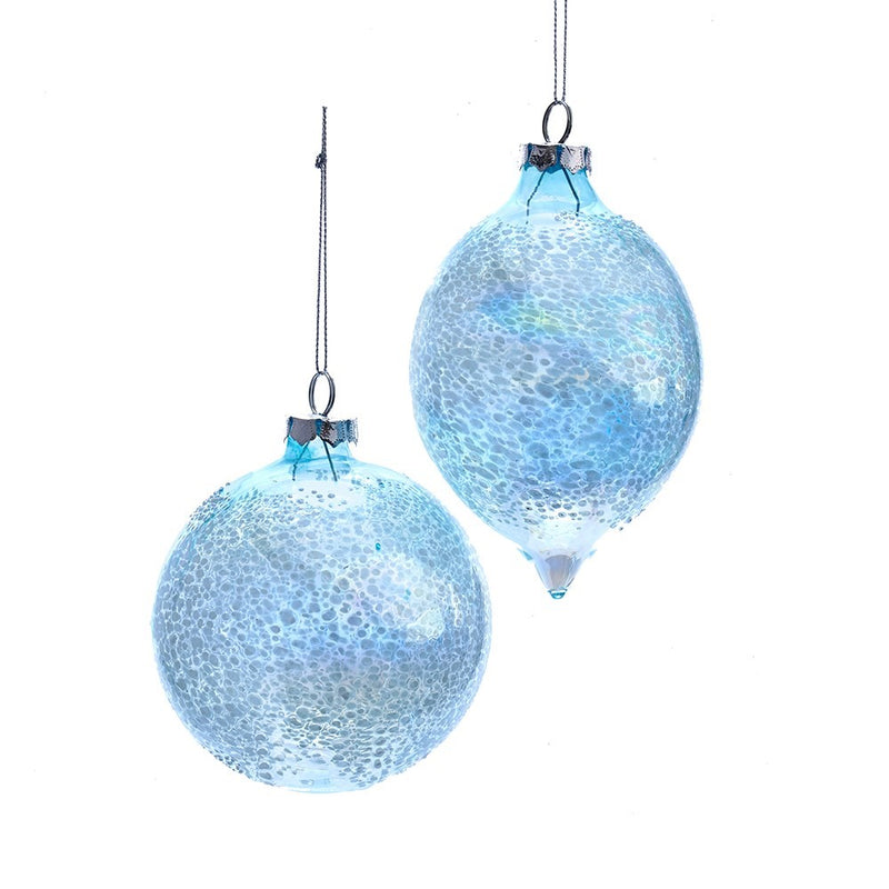 Kurt Adler Iridescent Blue Glass Ball Teardrop Ornament | Putti Christmas