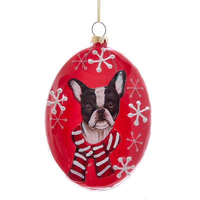 Kurt Adler French Bulldog Glass Disc Ornament | Putti Christmas Decorations