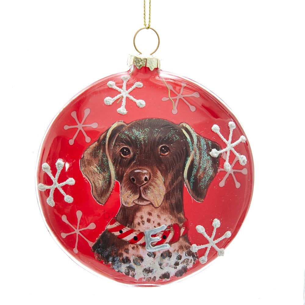 Kurt Adler German Shorthair Pointer Glass Disc Ornament | Putti Christmas Decorations