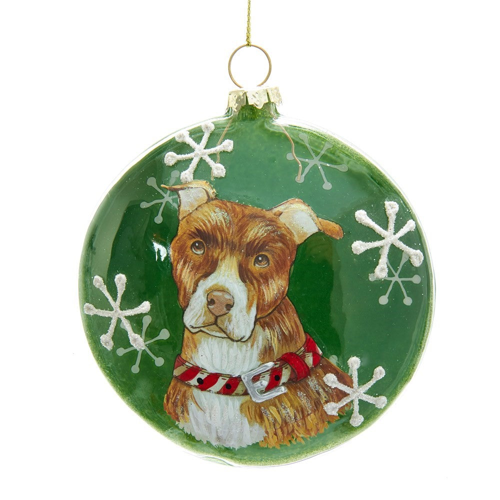 Kurt Adler American Pitbull Terrier Glass Disc Ornament