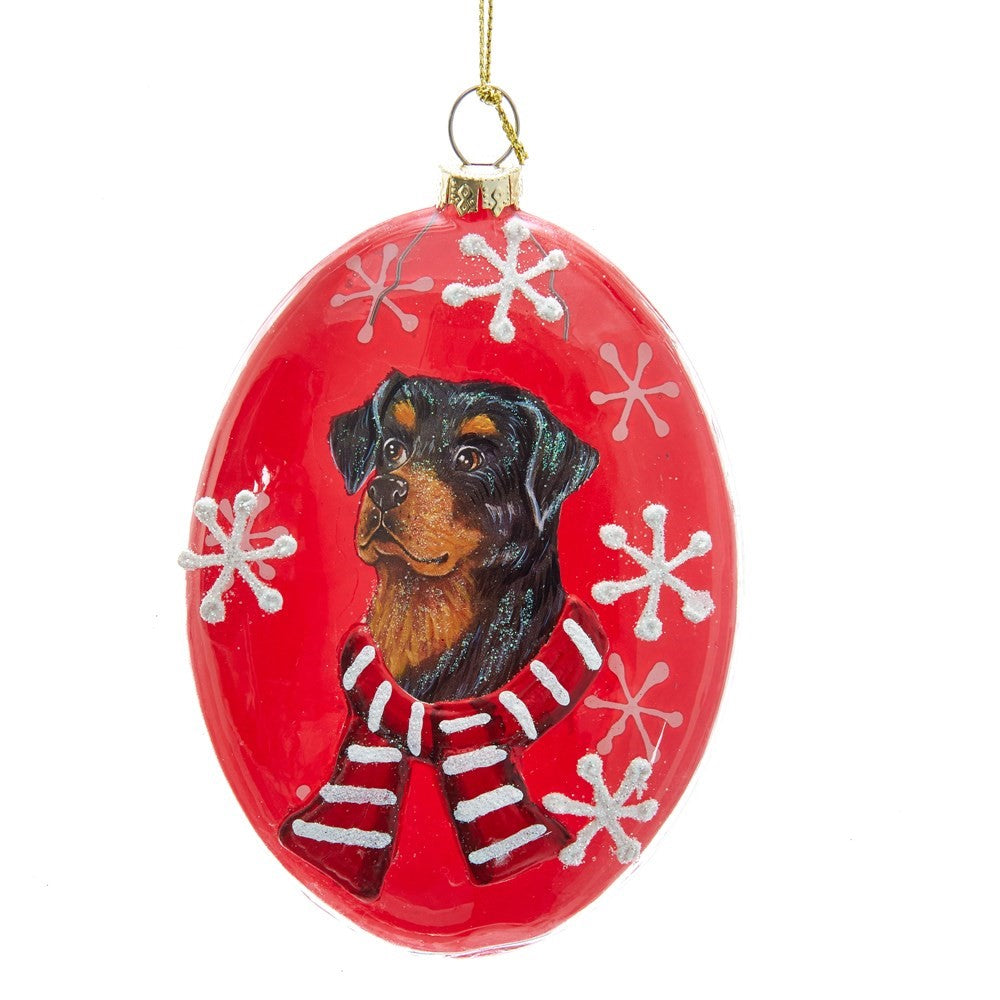 Kurt Adler Rottweiler Glass Disc Ornament | Putti Christmas Decorations