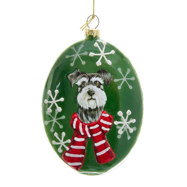 Kurt Adler Schnauzer Glass Disc Ornament | Putti Christmas Decorations