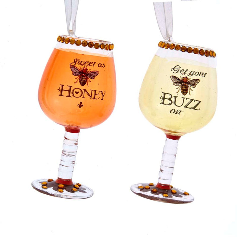 "Kurt Adler ""Get Your Buzz On"" Wine Glass Ornament"