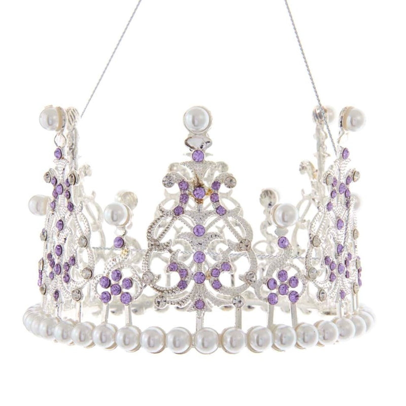 Kurt Adler Royal Splendor Purple Stones Crown Ornament  | Putti Decorations