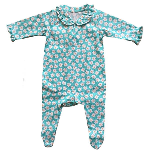 """Daisy"" Print Jumpsuit - 0-6 months (Special Order 2 weeks ) Children's Clothing - Powell Craft Uk - Putti Fine Furnishings Toronto Canada"