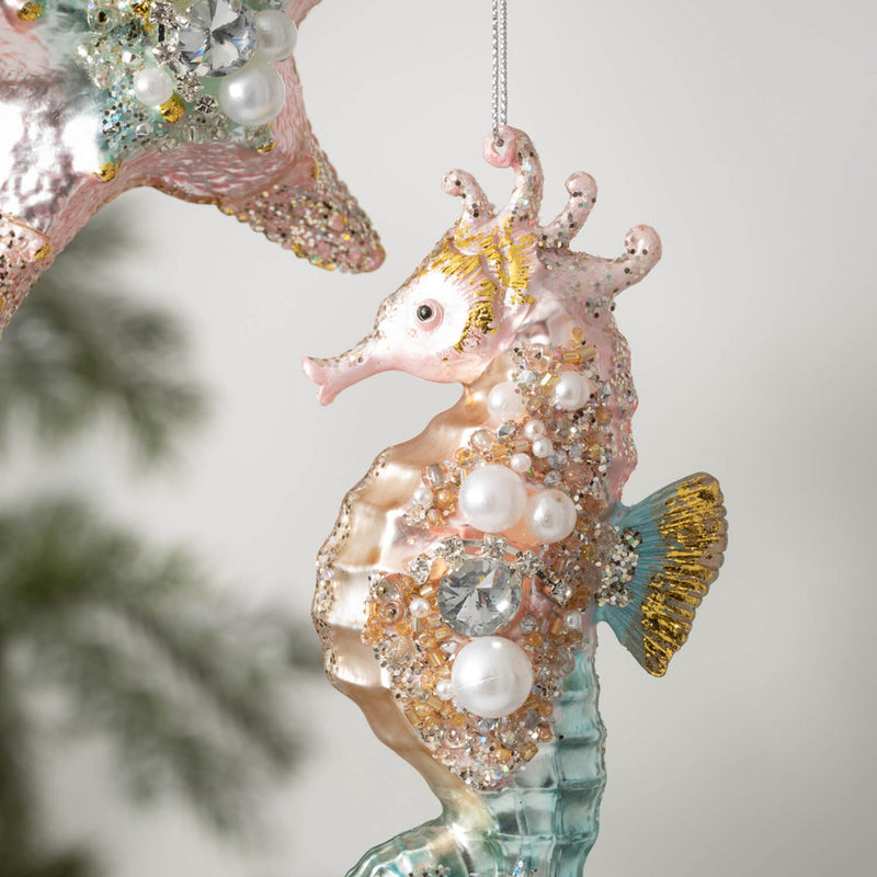 Jewelled Seahorse Glass Ornament | Putti Christmas Celebrations Canada