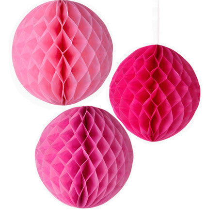 Decedant Decs Pink Tissue Honeycombs-Decorations-TT-Talking Tables-Putti Fine Furnishings