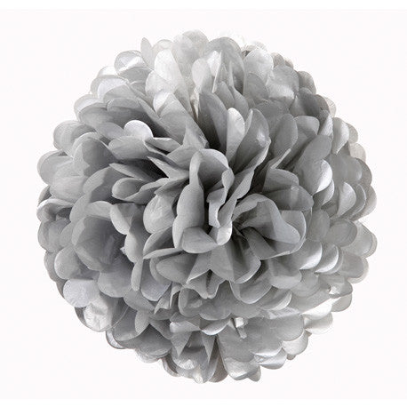 Decedant Decs Silver Tissue Pom Poms-Decorations-TT-Talking Tables-Putti Fine Furnishings