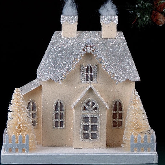 Silver & Ivory Glittered Village House with LED Light
