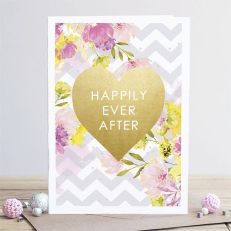 """Happily Ever After"" Gold Foil Heart - Card"