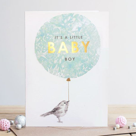 """It's A Little Baby Boy"" Blue Balloon New Baby Card"